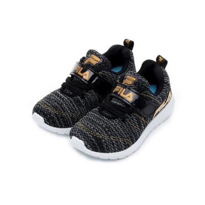 FILA KIDS 中童PVC輕量慢跑鞋-黑金 2-J424U-009