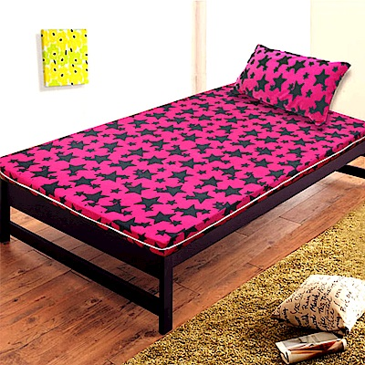 Gloria 珊瑚絨竹炭5cm記憶床墊 單人 (送珊瑚絨枕墊) 桃紅色