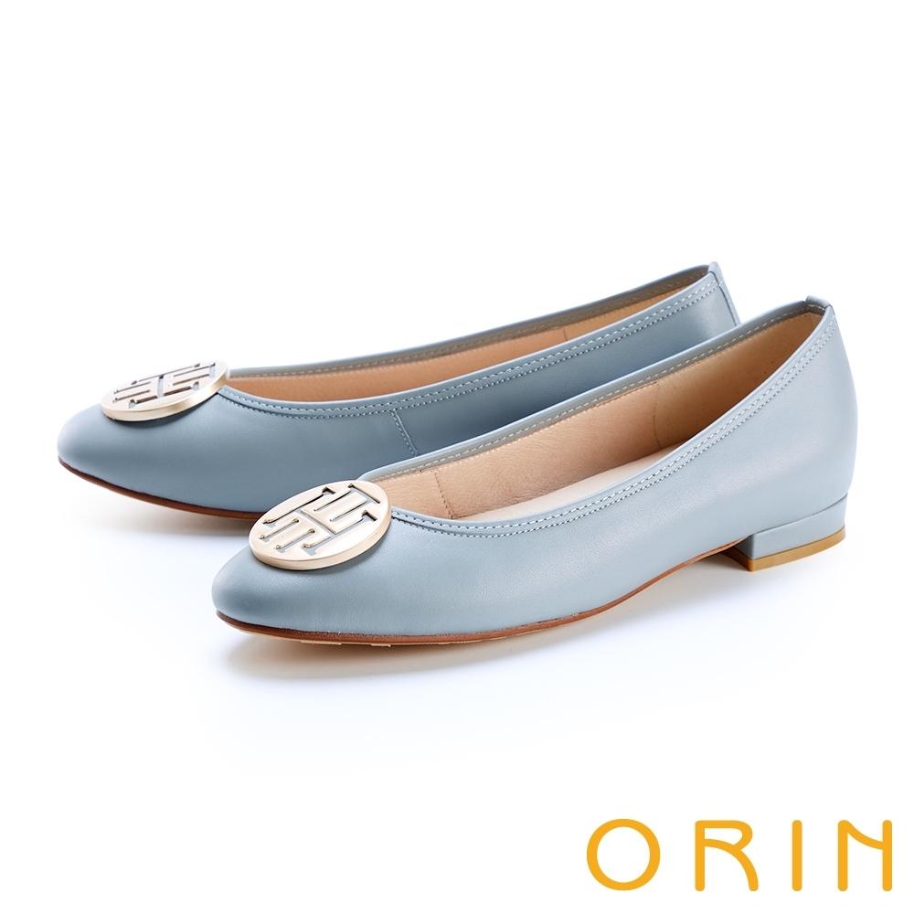 ORIN 金屬面飾小圓頭真皮 女 平底鞋 藍色