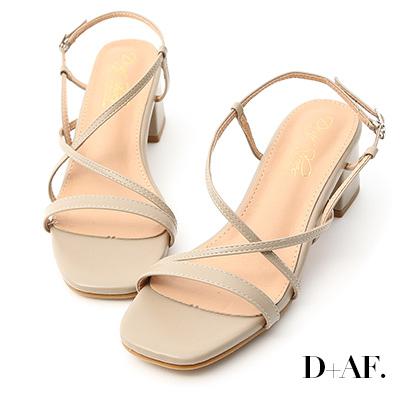 D+AF 獨特美型.一字交叉細帶中跟涼鞋*卡其