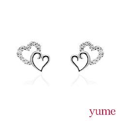 YUME - K金雙心晶鑽耳環