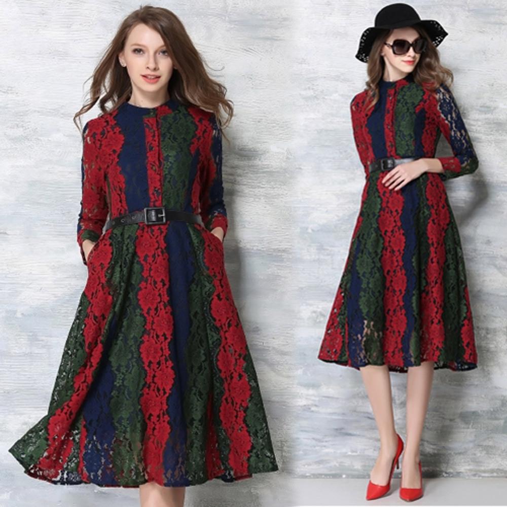 【KEITH-WILL】精緻蕾絲撞色大擺洋裝