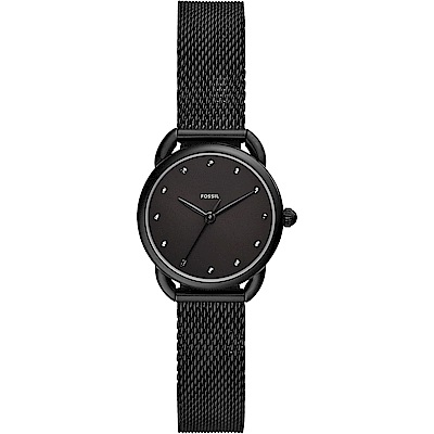 FOSSIL Jacqueline 時尚酷黑米蘭帶石英女錶-26mm