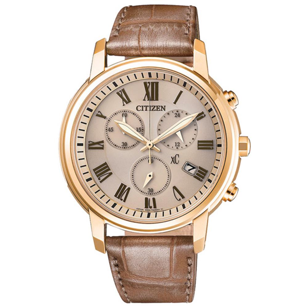 CITIZEN星辰XC 光動能羅馬計時女錶-香檳金x褐色/38mm(FB1433-01P)