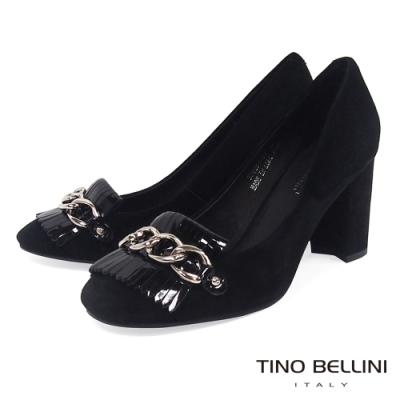 Tino Bellini典雅流蘇鍊帶高跟鞋_黑