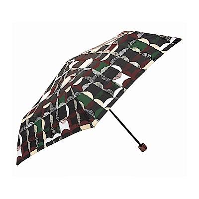 日本Prairiedog 晴雨兩用抗UV摺疊收納傘+多功能收納傘袋-方格(黑)