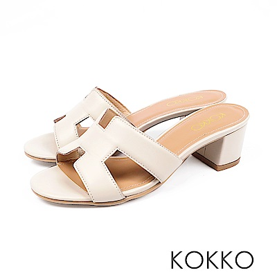 KOKKO - 浮華世界H形彩畫粗跟真皮拖鞋 - 白珍珠