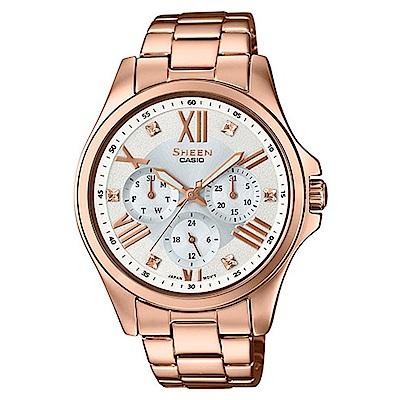 SHEEN羅馬時刻SWAROVSKI時尚腕錶(SHE-3806PG-7A)-銀白x玫瑰金