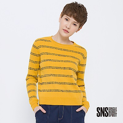 SNS 波普藝術坑條撞色條紋針織衫(2色)