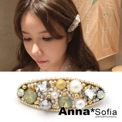 AnnaSofia 橢圓奢華寶石風 純手工長型小髮夾(米金系)
