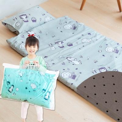 奶油獅-森林野餐-台灣製造-可黏式收納安親午睡記憶睡墊(含枕)幼幼床-灰