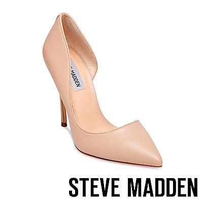 STEVE MADDEN-DREA 真皮尖頭側空高跟鞋-藕色