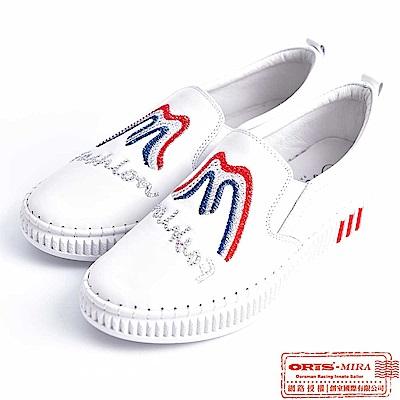 MIRA 女款 春天漫遊水鑽壓紋休閒懶人鞋 W9806N09