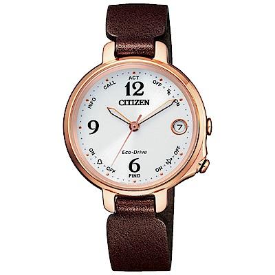 CITIZEN 星辰光動能藍芽連線真皮手錶EE4028-10A-玫瑰金框/33mm