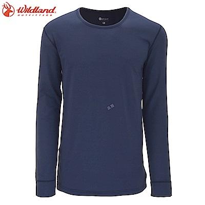 【Wildland 荒野】男遠紅外線圓領保暖衣灰藍