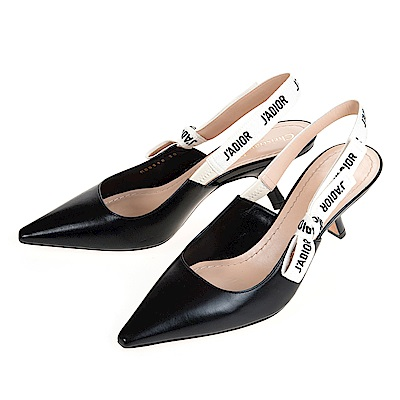 DIOR 新款牛皮J'ADIOR刺繡織帶低跟芭蕾舞鞋 (黑色/38)