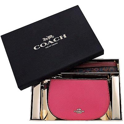 COACH 粉紅花朵圖樣彎月手拿包禮盒組-附雙提帶