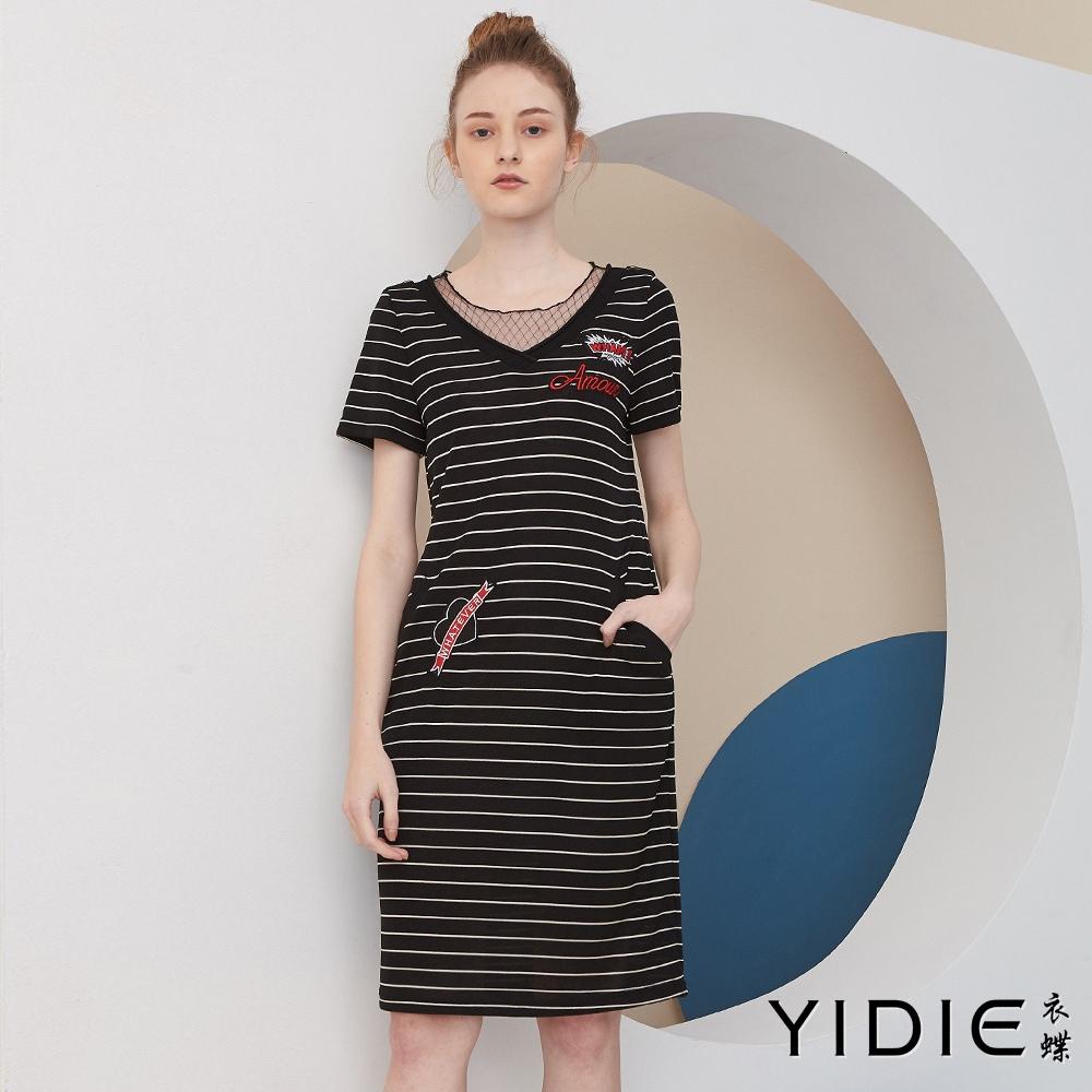 【YIDIE衣蝶】網紗拼接條紋針織短洋裝