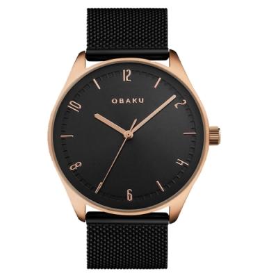 OBAKU秋日時尚氣質腕錶-黑(V235GXVBMB)/38mm