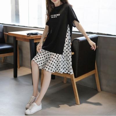2F韓衣-簡約文字印花拼接波點造型洋裝-黑(M-2XL)