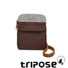 tripose 漫遊系列 岩紋x微皺尼龍護照斜背包 可可咖