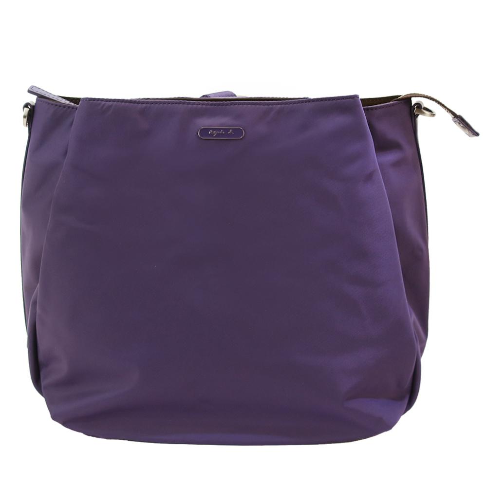 agnes b.長橢圓牌斜背/後背兩用包(紫)