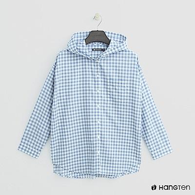 Hang Ten - 女裝 -格紋配色連帽襯衫 - 淺藍