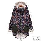 幾何拼接內刷毛連帽外套 TATA-(M~XL)