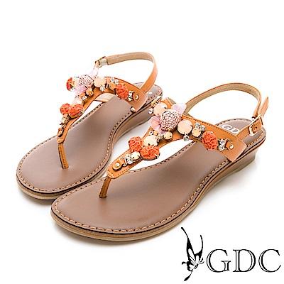 GDC-真皮夏日海洋風寶石涼鞋-橘色