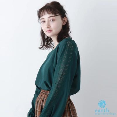earth music【SET ITEM】肩袖鏤空刺繡蕾絲拼接上衣+蕾絲領內搭背心