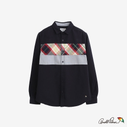 Arnold Palmer-男款-修身色塊拼接牛津襯衫-黑