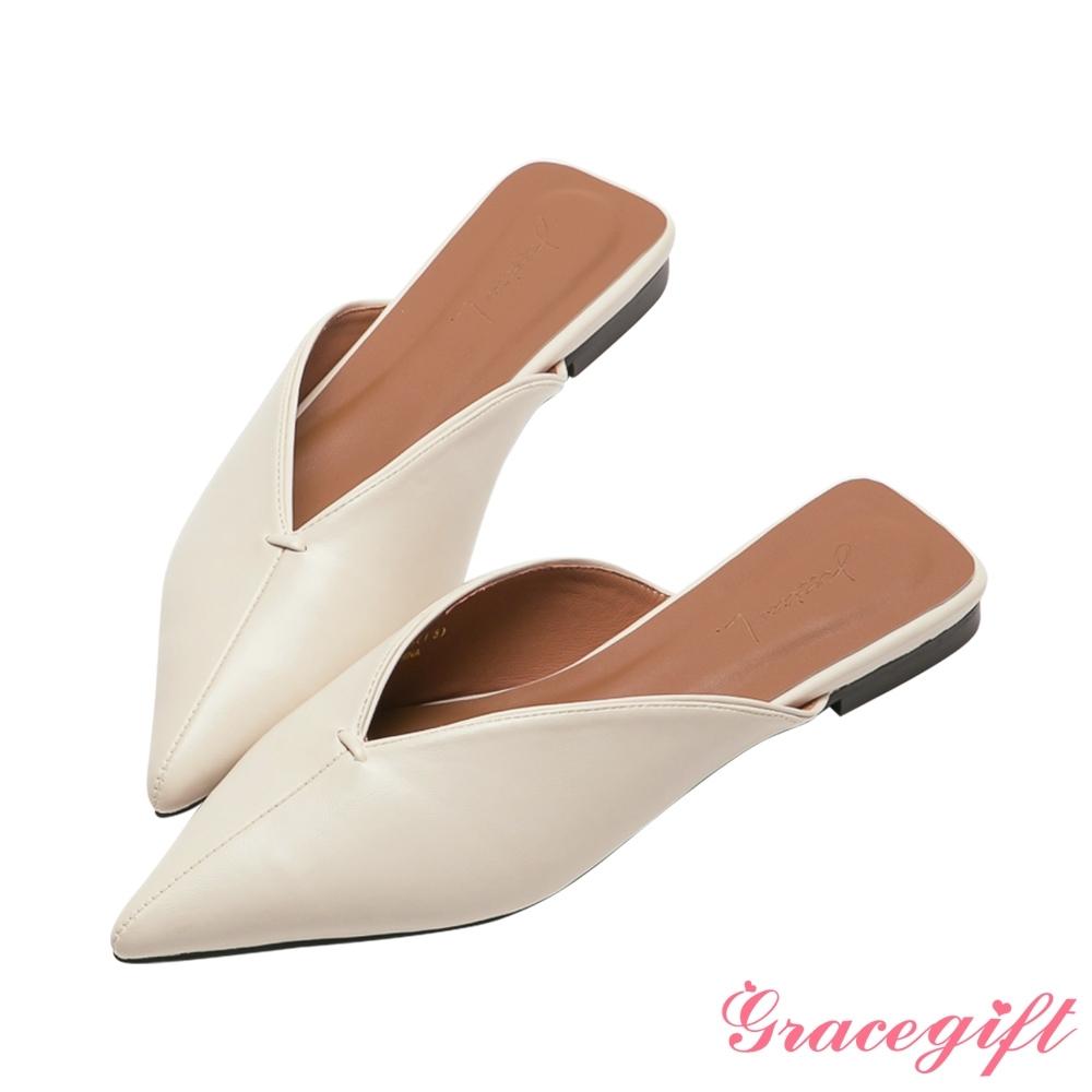 Grace gift X Jessica-聯名尖頭V口平底穆勒鞋 米白