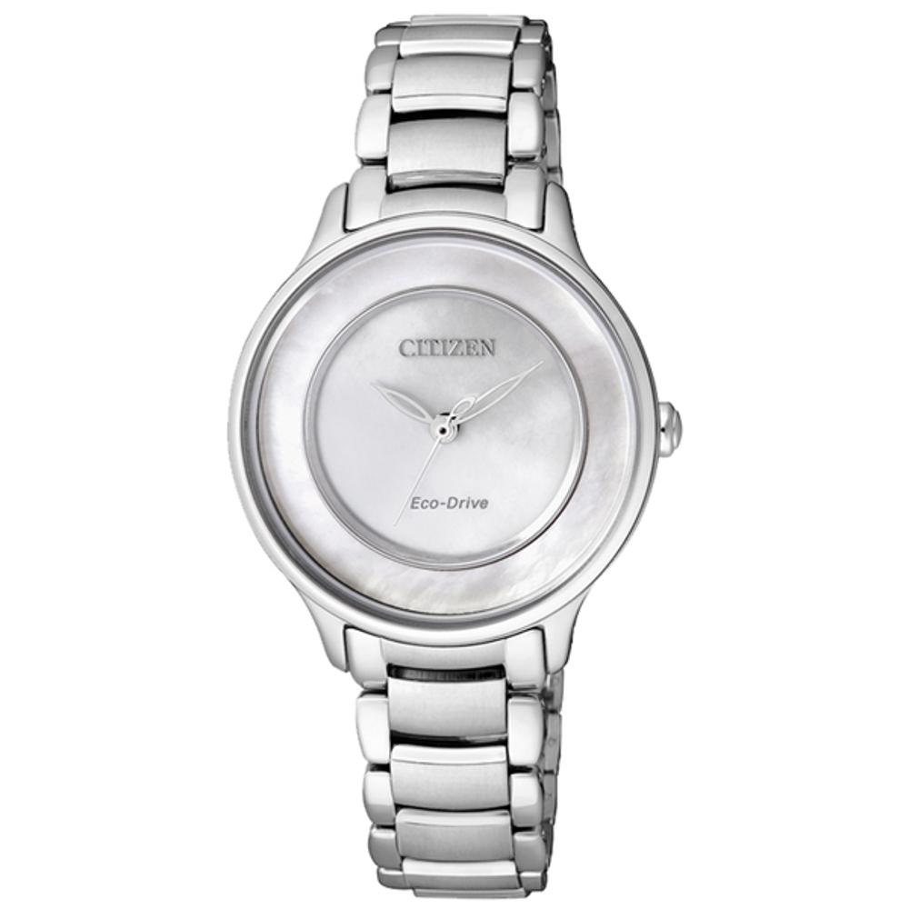 CITIZEN Eco-Drive 晨之曙光光動能腕錶-白(EM0380-57D)