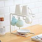 Homely Zakka 簡約工藝鐵製杯架/瀝水架/置物架(白色)