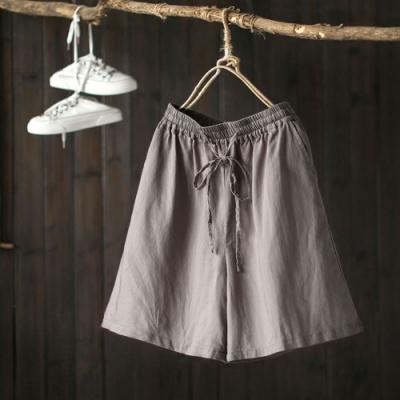 亞麻短褲棉麻休閒寬管微喇褲-設計所在