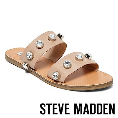 STEVE MADDEN-JESSY 水鑽鑲嵌二字帶平底拖-裸色