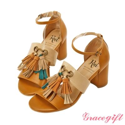 Grace gift X Rui-聯名流蘇拼接高跟涼鞋 淺棕