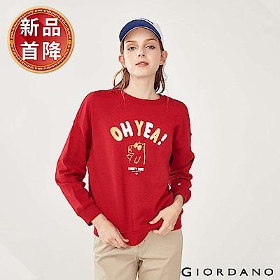 GIORDANO 女裝派對豬系列印花刷毛大學TEE-02 新冠軍紅