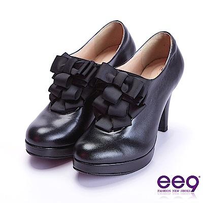 ee9 心滿益足蝴蝶結飾帶防水台高跟鞋 黑色