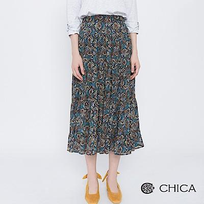 CHICA 午後畫廊花藝百褶雪紡中長裙(2色)