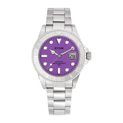 HYUN炫 白鋼男士設計精品錶-白鋼紫底
