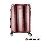 AIRWALK- 都市行旅24吋特光立體拉絲金屬護角輕質拉鍊行李箱 - 光采紅