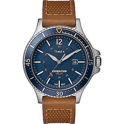 TIMEX 天美時 遠征系列 太陽能探險手錶-駱x銀藍/43mm