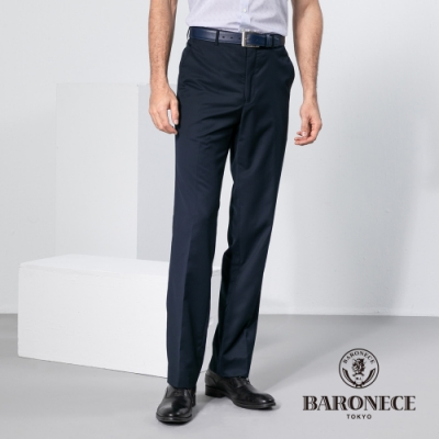 BARONECE 百諾禮士休閒商務  男裝 竹纖維伸縮調節腰頭平口西裝褲-丈青色(1198812-39)
