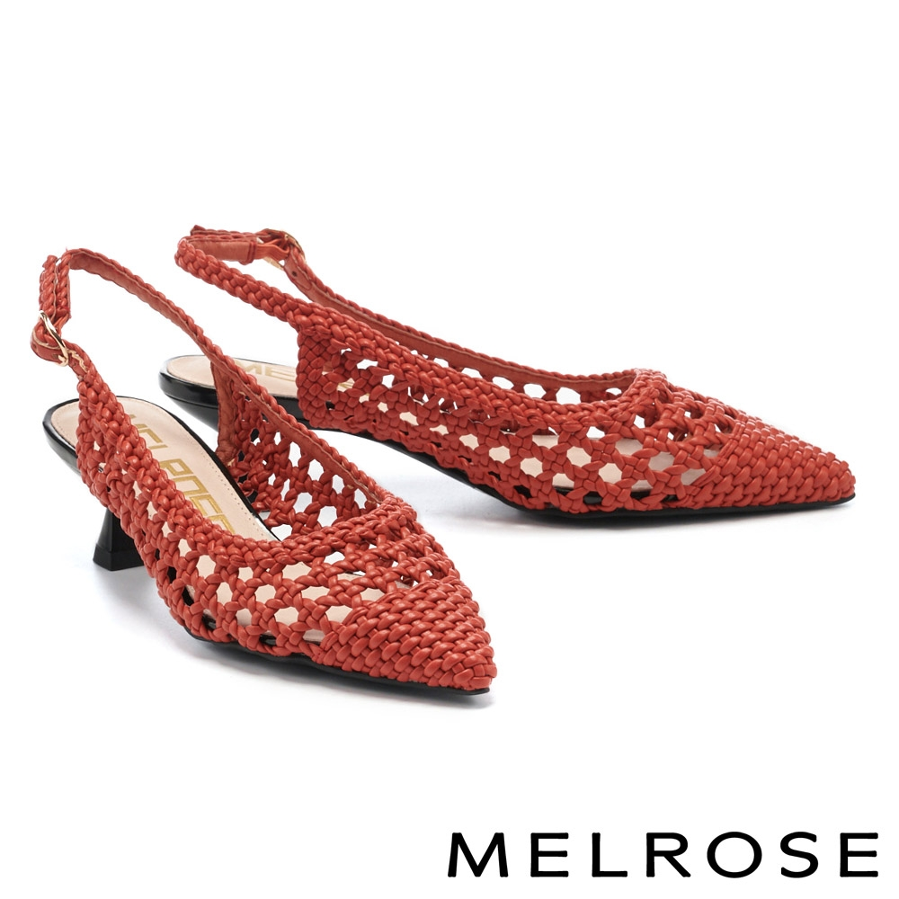 高跟鞋 MELROSE 悠閒時尚編織鏤空後繫帶尖頭高跟鞋-紅