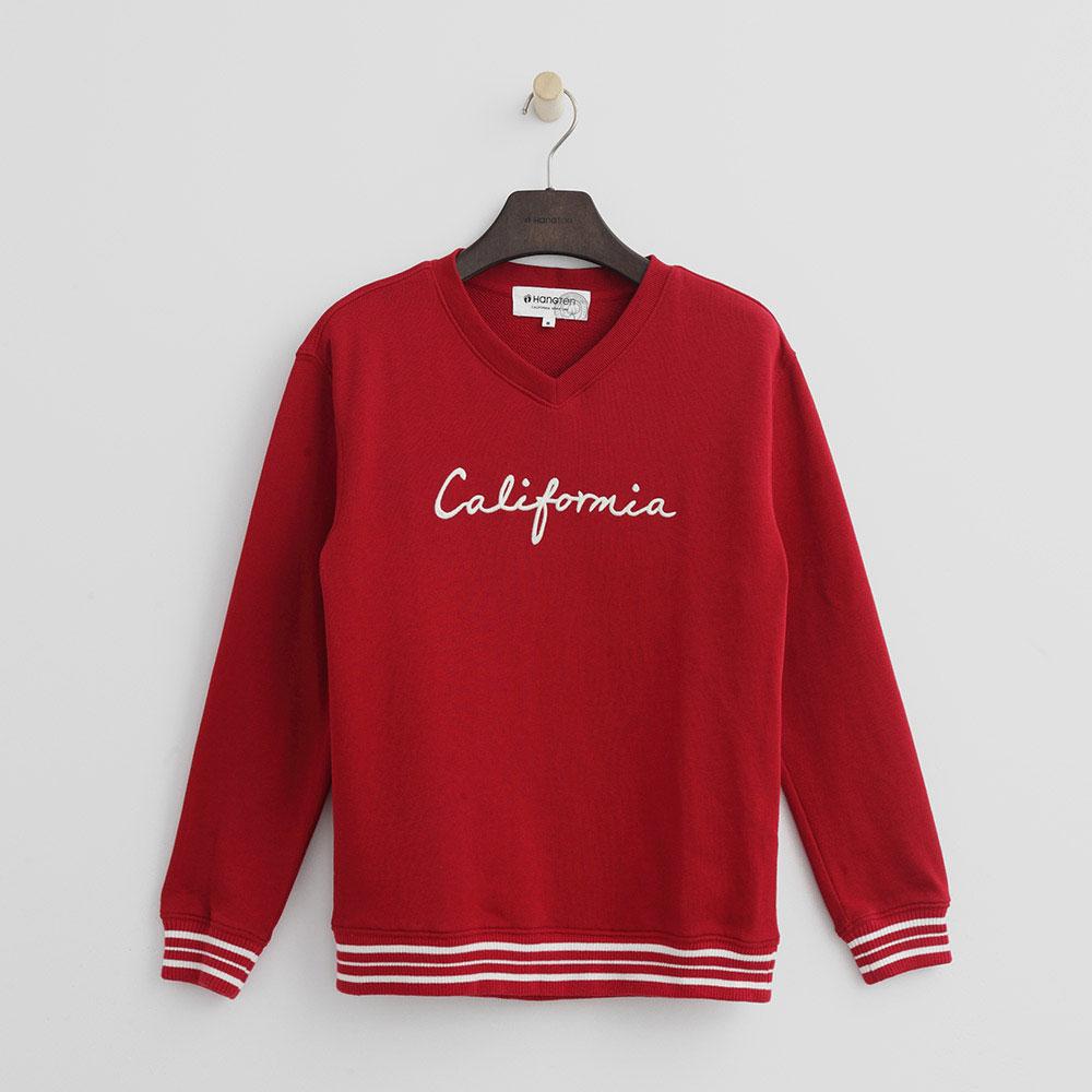Hang Ten - 女裝 - 有機棉 - 英文刺繡校園風格上衣-紅色