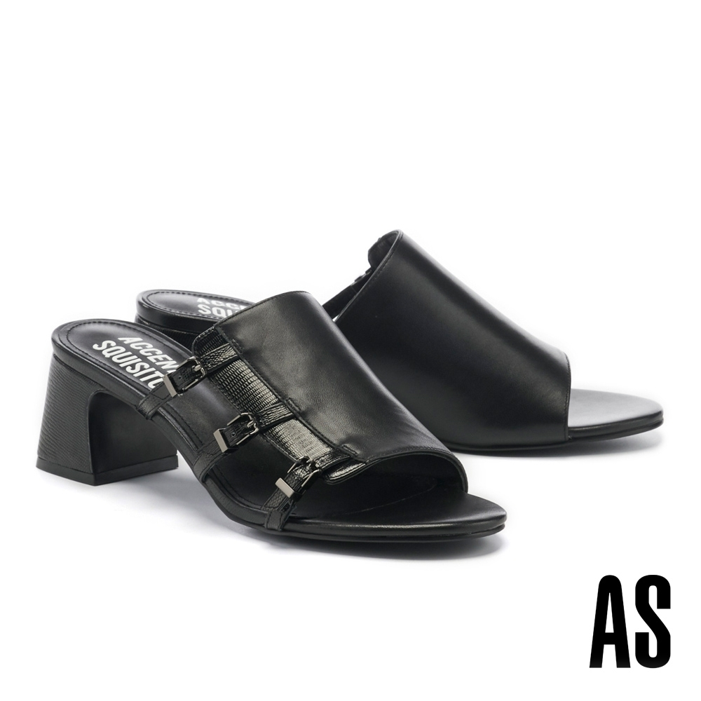拖鞋 AS 簡約風個性異材質拼接側空帶釦全真皮高跟拖鞋-黑