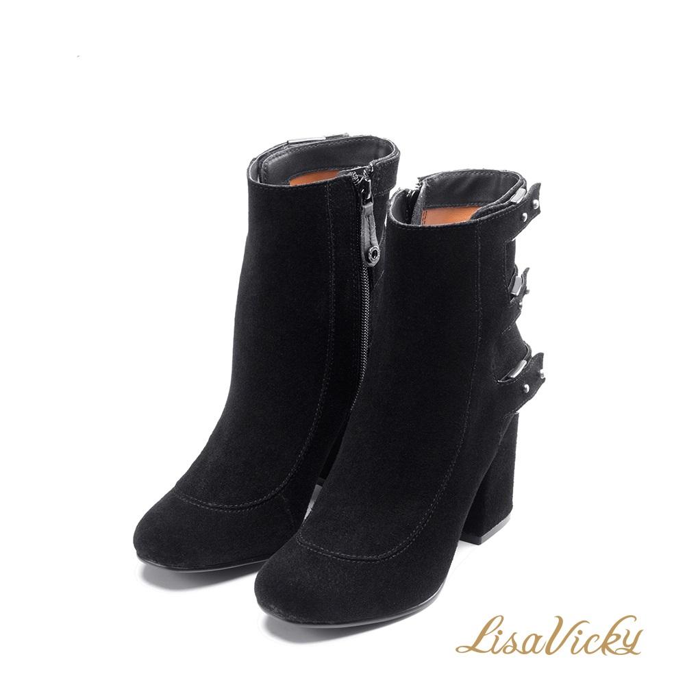 LisaVicky巴黎麂皮圓鉚釘帶子粗高跟靴-黑色