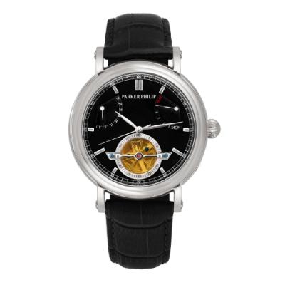 PARKER PHILIP派克菲利浦飛返指針鏤空擺輪限量機械錶(銀殻/黑面/黑帶)