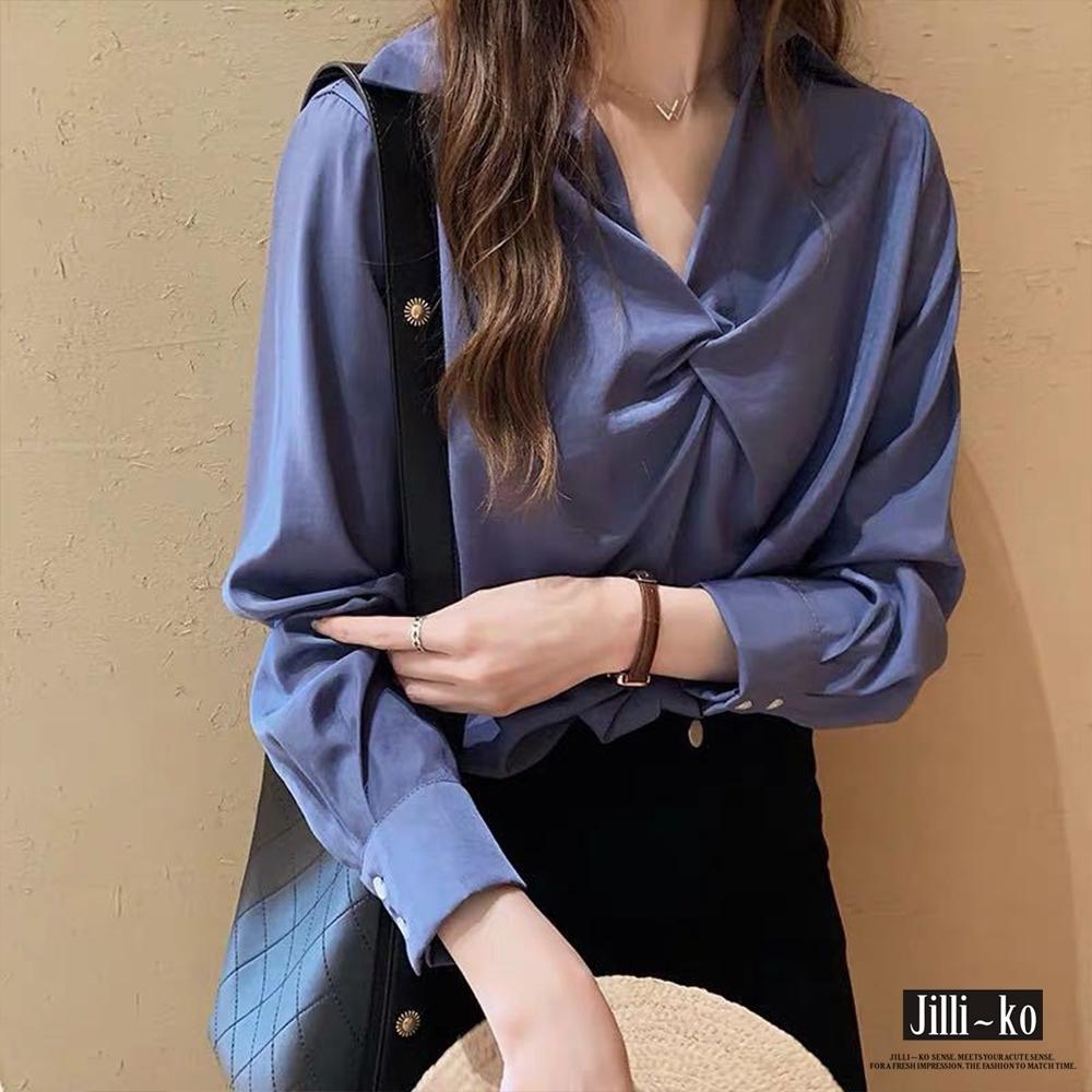 JILLI-KO 抓皺領設計款襯衫- 藍/白 product image 1
